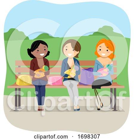 Girls Moms Baby Public Breastfeeding Illustration by BNP Design Studio