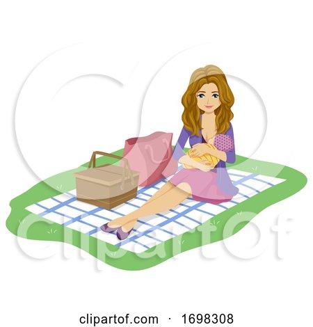 Girl Mom Park Public Breastfeed Illustration by BNP Design Studio