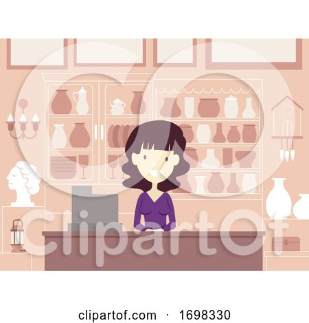 Girl Antique Shop Merchant Illustration by BNP Design Studio