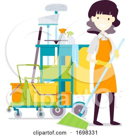 Girl Cleaning Service Job Illustration by BNP Design Studio