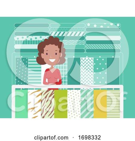 Girl Fabric Center Illustration by BNP Design Studio