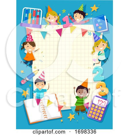 Stickman Kids Math Party Frame Illustration by BNP Design Studio