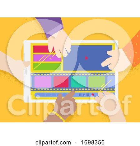 Kids Hands Edit Film Tablet Illustration by BNP Design Studio