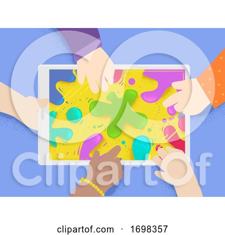 Kids Hands Tablet Splat Colors Illustration Posters, Art Prints