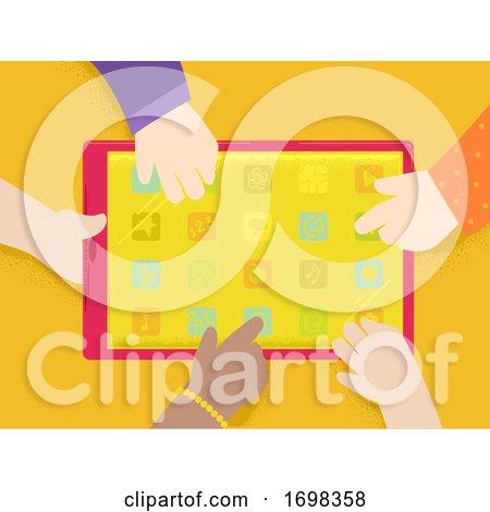 Hands Kids Tablet Apps Illustration by BNP Design Studio