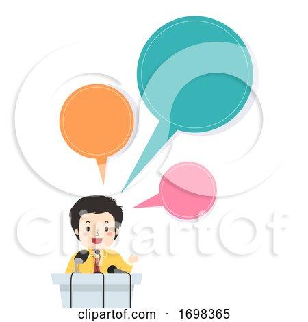 Man Press Conference Speech Bubbles Illustration by BNP Design Studio