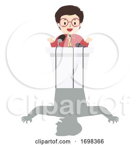 Man Press Conference Lie Illustration by BNP Design Studio