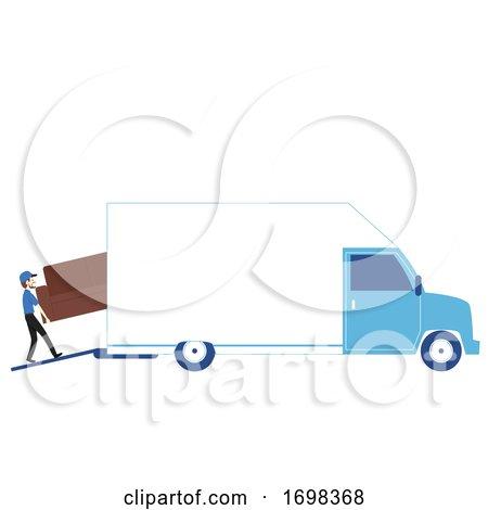 Man Moving Business Van Illustration by BNP Design Studio