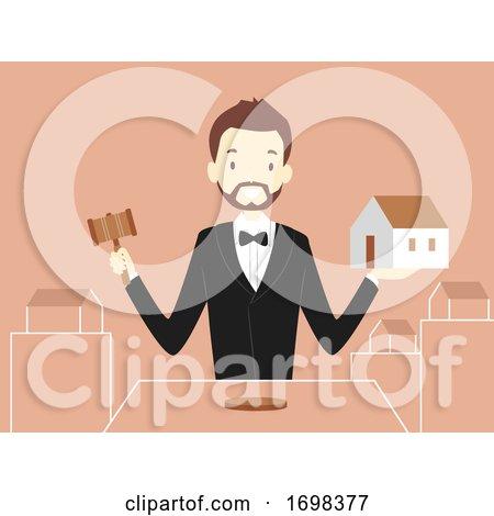 Man Estate Auctioneer Job Illustration by BNP Design Studio