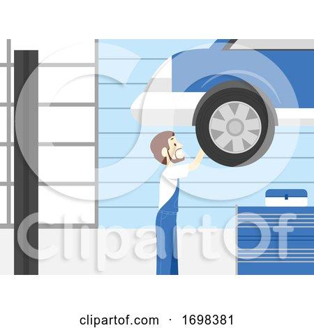 Man Auto Service Shop Illustration by BNP Design Studio
