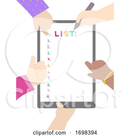 Hands Kids List Tablet Illustration by BNP Design Studio
