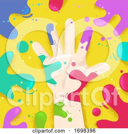 Hand Right Splat Colors Illustration Posters, Art Prints