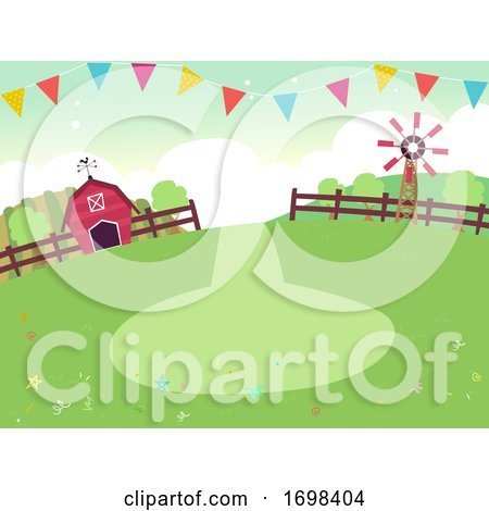 Party Farm Theme Buntings Background Illustration by BNP Design Studio