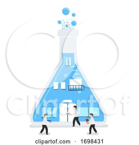 Scientists Flask Laboratory Building Illustration by BNP Design Studio