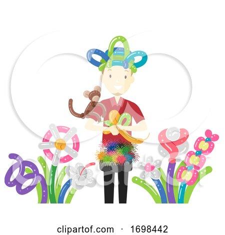 Man Balloon Modelling Artist Job Illustration by BNP Design Studio
