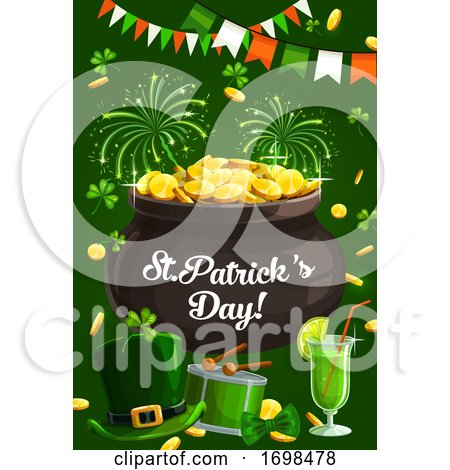 Ireland Patricks Day, Fest Fireworks, Shamrock by Vector Tradition SM