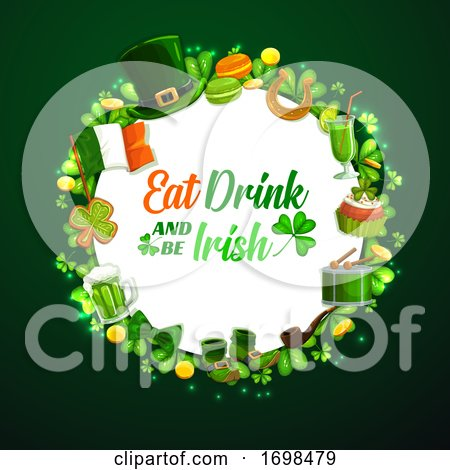St. Patricks Day Holiday Frame on Green by Vector Tradition SM