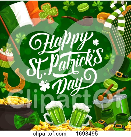 Shamrock, Leprechaun Hat and Gold. Patricks Day by Vector Tradition SM
