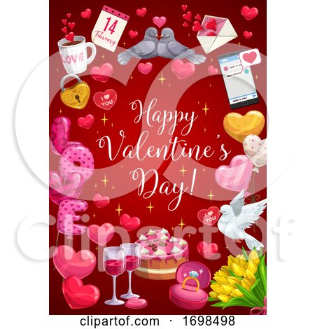 Happy Valentine Day Calligraphy, Heart Balloons by Vector Tradition SM