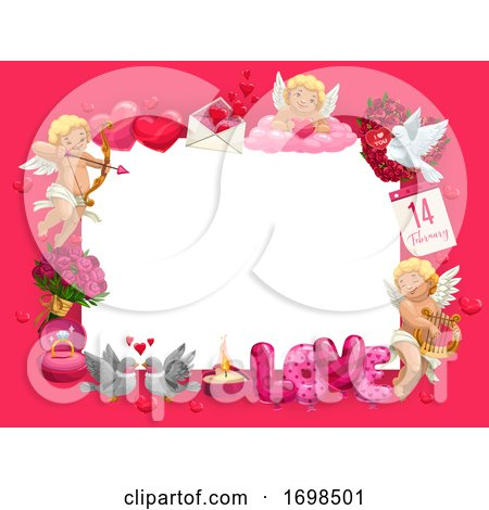Valentines Day Frame of Hearts, Cupids and Gifts by Vector Tradition SM