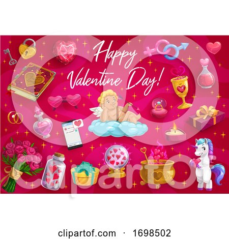 Valentines Day Love Hearts, Cupid Angel, Unicorn by Vector Tradition SM