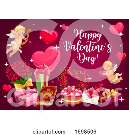 Valentines Day, Love Hearts and Cupids by Vector Tradition SM