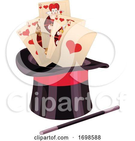 Top Hat with a Magic Wand and Playing Cards by Pushkin