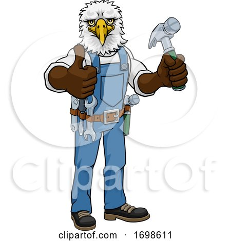 Eagle Mascot Carpenter Handyman Holding Hammer Posters, Art Prints