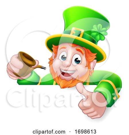 Leprechaun St Patricks Day Cartoon Pipe Sign by AtStockIllustration