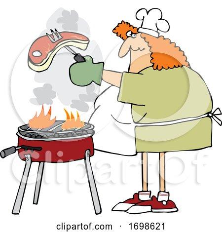 Cartoon Chubby Woman Cooking a Steak on a BBQ Grill by djart