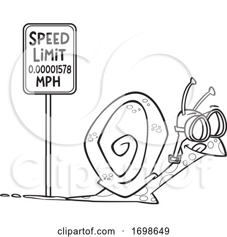 Black and White Snail Passing a Speed Limit Sign by toonaday