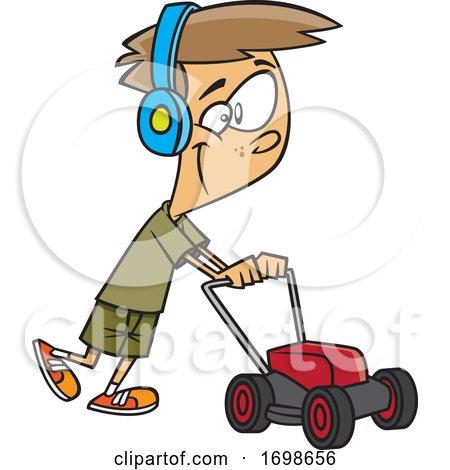 Cartoon Happy Boy Mowing by toonaday