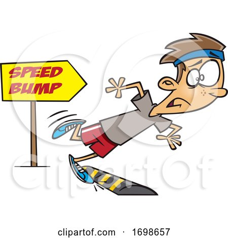 Cartoon Runner Boy Tripping over a Speed Bump by toonaday