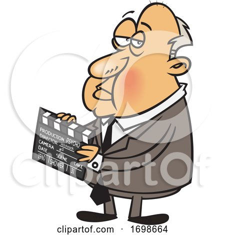 Cartoon of Alfred Hitchcock Holding a Clapperboard by toonaday