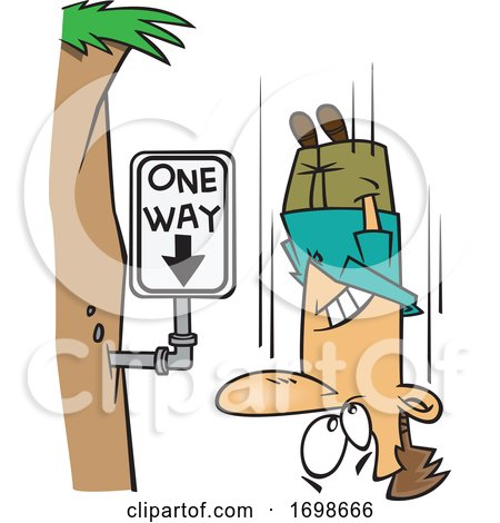 Cartoon Falling Man Passing a One Way Sign by toonaday