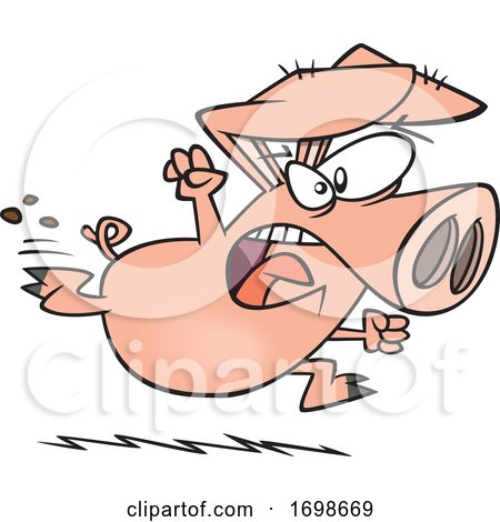 Cartoon Running Angry Pig by toonaday