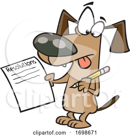 Cartoon Dog Writing a List of New Years Resolutions by toonaday