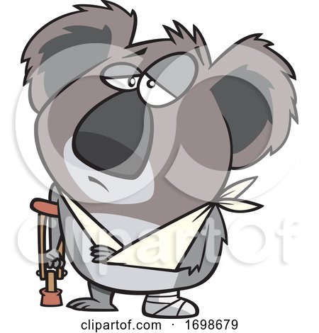 Cartoon Injured Koala with an Arm Sling and Crutch by toonaday