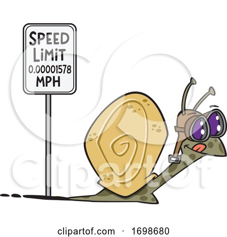 Cartoon Snail Passing a Speed Limit Sign by toonaday
