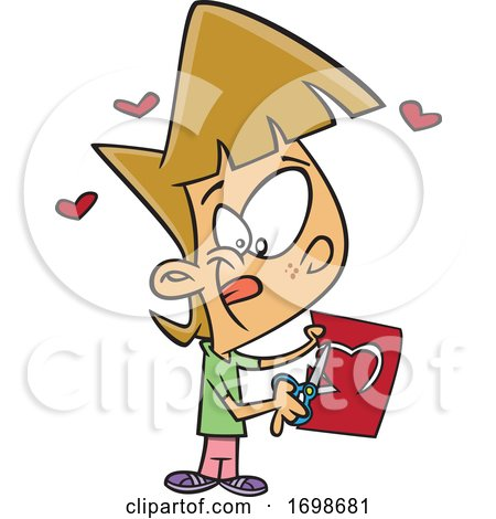 Cartoon Little Girl Cutting a Heart in a Valentines Day Card by toonaday
