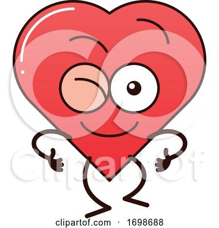 Cartoon Love Heart Character Winking by Zooco
