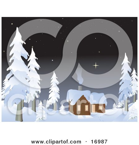 Private Log Cabin In The Woods With Smoke Coming Out Of The Chimney And Rising Towards The Starry Night Sky, Surrounded By Snow Flocked Evergreen Trees Clipart Illustration by Rasmussen Images