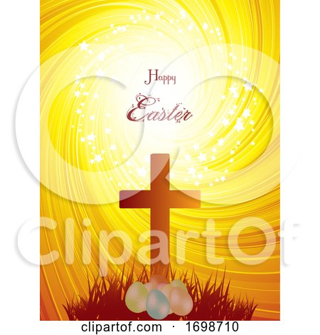 Easter Cross and Eggs on Abstract Background by elaineitalia