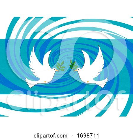 Easter Peace Doves on Abstract Swirl Background by elaineitalia