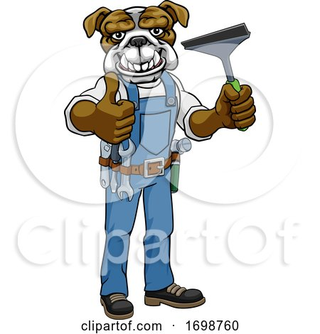 Bulldog Car or Window Cleaner Holding Squeegee by AtStockIllustration