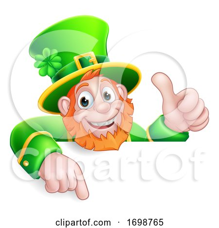 Leprechaun St Patricks Day Cartoon Pointing Sign by AtStockIllustration