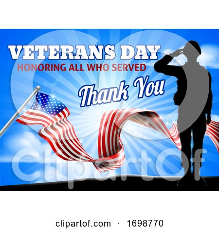 Saluting Soldier Veterans Day American Flag by AtStockIllustration