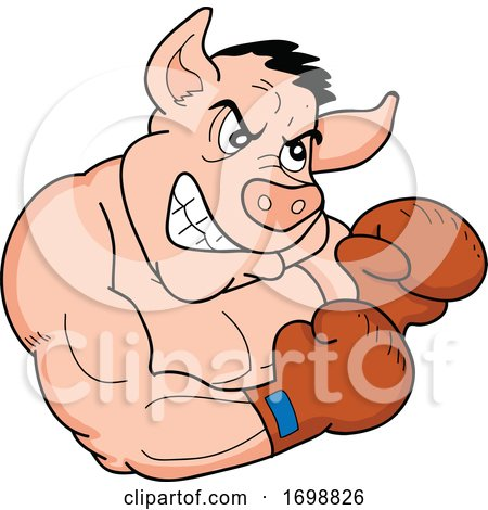 Tough Muscular Boxer Pig for a BBQ Competition Design by LaffToon