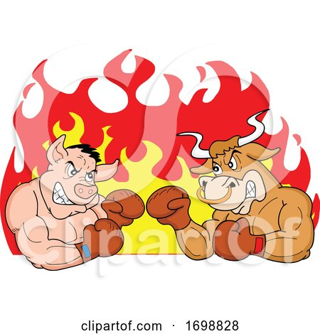Tough Muscular Boxer Bull and Pig over Flames for a BBQ Competition Design by LaffToon