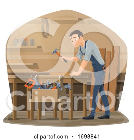 Carpenter Hammering Posters, Art Prints